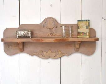 Wood Wall Shelf Art Deco Style 1920s 1930s Vintage Pink Wooden Trinket Display Shelf