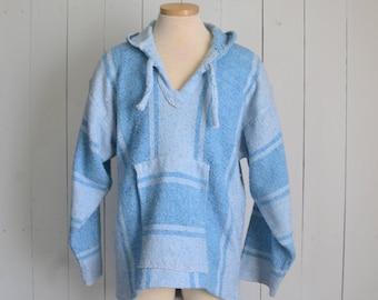 Baja Hoodie Baby Blue Early 90s Vintage Cotton Hippie Drug Rug Pullover Large
