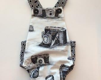 Black and White Monochrome Vintage Camera Bubble Baby Romper Bodysuit Playsuit