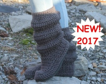 Slouch Boots Crochet Pattern ------  REDESIGNED SLOUCH BOOTS ------  the slouch boot made better----- new design---- womans 5-10