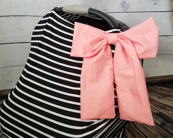 Car seat Cover Nursing cover Shopping Cart Cover 3 in1 stretchy carseat cover with or without Large bow