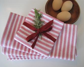 Farmhouse Ticking Kitchen Towel, Farmhouse, Vintage Kitchen,Christmas Towel, Tea Towel, Farmhouse Towel, Red Kitchen Towel