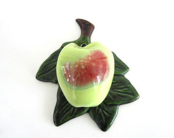 Vintage Ceramic Apple Wall Pocket Vase Holder Planter Fruit Kitchen Decor 1950's Treasure Craft California Pottery