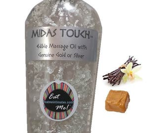 Midas Touch™ Edible Gold & Silver Massage Oil - Vanilla Caramel Natural Vegan, water based, 24k Gold 999 Silver