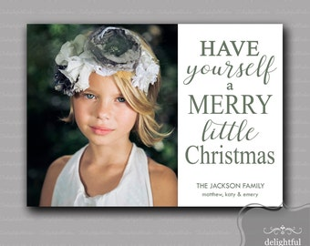 Custom - Photo - Christmas Card - Merry Little Christmas Photo Card, Holiday Photo Card - (JPEG Digital File) - You Print