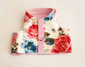 Made to order  - Italian Greyhound Harness  (measurements essential) Cream and Pink Rose Twill - cotton or fleece lined  - see details