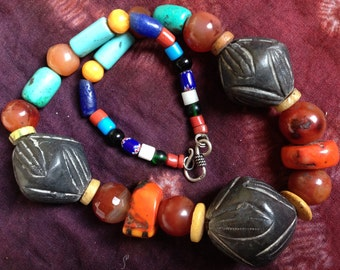 Moroccan Berber Necklace with  Colorful various Beads; Clay, Carnelean, Coral & Glass