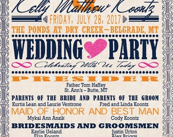 Custom Programs listing for Allison Lean - Vintage Music Wedding Invitations - Orange, Fuchsia and Navy Blue