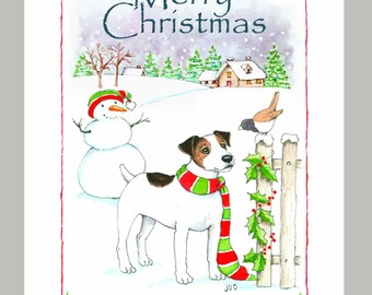 Jack Russell Terrier Christmas Card Box of 16 Cards & Envelopes