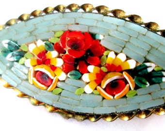 Glass Mosaic Flower Brooch Antique Vintage Pin Gift for Mom Girlfriend Grandmother