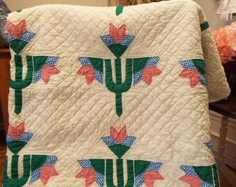 Vintage Handmade Quilt in Tulip Pattern