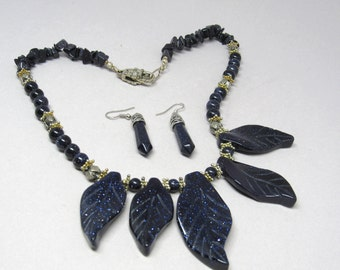 Blue Goldstone Necklace with Earrings