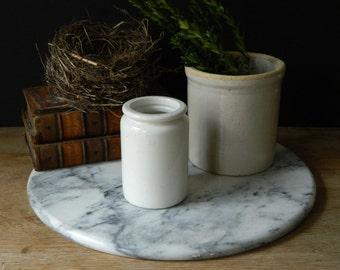 vintage white stoneware crock jar.
