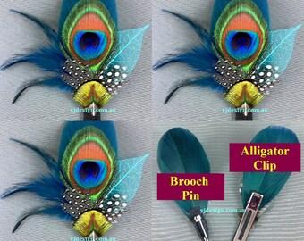 Bridesmaid Hair Accessories Set 3, Bridesmaid Hair Clip, Peacock Buttonhole, Feather Headpiece, Wedding Fascinator, Bridesmaid Gift PLUTORIA