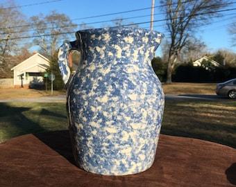 Vintage blue spongeware pottery pitcher, Clinch Mountain pottery pitcher