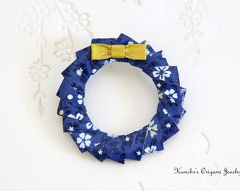 CLEARANCE 50% OFF Original Price - Origami Christmas Wreath Pin/Brooch No.01367