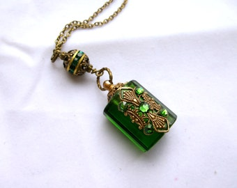 Perfume Bottle Necklace Inspired Emerald Green Perfume or Essential Oil Bottle Necklace