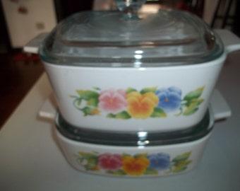 Corning Ware Set  1 and 1 1/2 Quart  Summer Blush AKA Pansies Baking Dishes w/Pyrex Lids