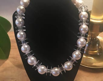"Clear Plastic Bobbins and Faux WhitePearls 20"" inch Necklace"