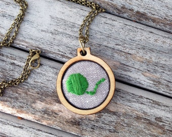 Hand Embroidered Necklace, Green Ball of Yarn