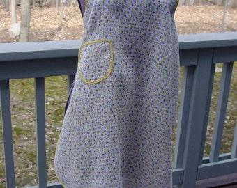 Vintage Full Bib Apron, Yellow and Purple Tulips, Sheer Cotton, Grandma's Kitchen