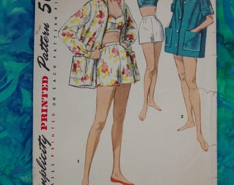 Vintage Pattern c.1956 Simplicity No.1659 Shorts,Jacket,Bra, Sportswear, Size 14