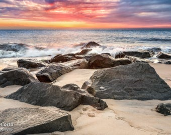 Seascape Sunrise Photography Limited Edition Print, Lewes Beach Art Print, Cape Henlopen Delaware Photo, Footprints in the sand