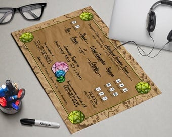 Tabletop Gamer Printable Baby Shower Invitation - Geeky, Nerdy, Campaign, Character Sheet, Gaming, Gamer Baby, Geeky Baby, D20 Dice