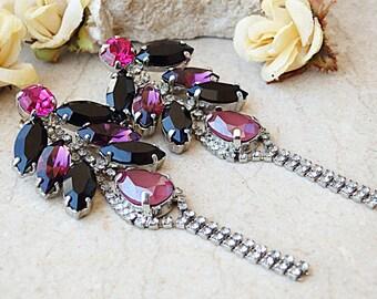 Chandelier earrings. Evening Earrings. Pink purple black earrings. Swarovski earrings. Long chain earrings. Leaf earrings. Teardrop earrings