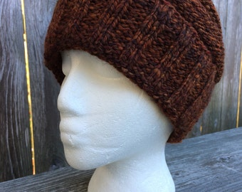 Hand Knit Hat, Womens Knit Hat, Wool Hat, Handspun Yarn, Winter Hat