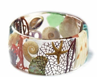 Beach Bracelet- Starfish Bangle- Star Fish Jewelry- Resin Jewelry- Summer Jewelry - Tropical Jewelry - Tan Resin Bracelet-Drift Wood Jewelry