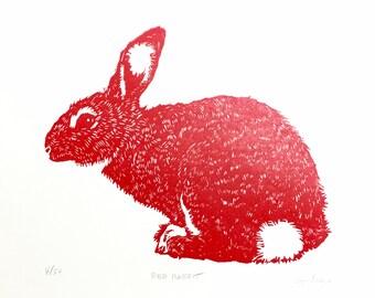 Red Rabbit linocut