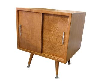 Bamboo Mid Century Inspired Record Storage Cabinet - MADE TO ORDER