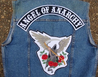 Angel of Anarchy Embroidered Patch set for jackets vests large back embroidered patches Grim Reaper Angel Roses