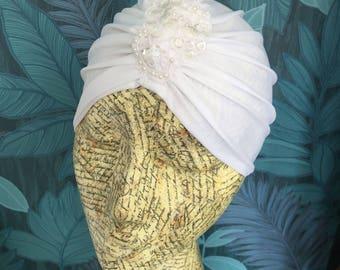 White vintage style turban with beading