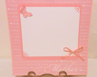 12x12 Mother scrapbook page, Premade single layout, One photo mat, Glittered butterfly embellishment