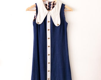Vintage Blue Mod Dress / 60s Mod Collar Dress / Navy Blue Sleeveless Dress / 70s Blue and White Sailor Dress / Linen Dress Womens XS Small