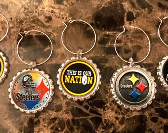 Set of 6 Pittsburgh Steelers inspired wine glass charms for the wine lover in your life.... customize