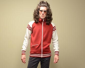 vintage 70s 80s track jacket burgundy white stripe jacket acrylic athletic warm up jacket Winning Ways  M/L 1970 1980 menswear