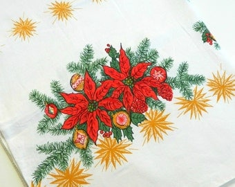 Vintage Christmas Tablecloth, 84 X 56, Rectangular Tablecloth, White Linen, Red Poinsettias, Gold Stars, Evergreens.
