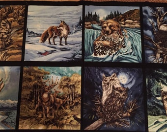 Wolves, bears, racoon's, fox, deer, eagle, owls, Robert Kaufman North American Wildlife fabric, teahouse fabrics, quilting cotton