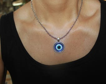 evil eye necklace, silver evil eye, evil eye jewelry, evil eye charm