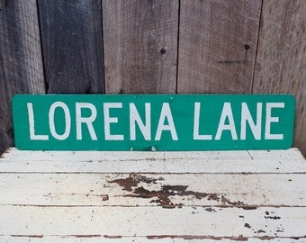 Vintage LORENA LANE Street Sign Double Sided Metal Road Sign Garage Man Room Dorm Apartment Boy's Room Decoration Green White