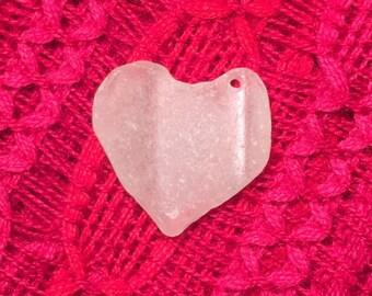 Genuine Ocean Tumbled Sea Glass Heart Pendant Drilled