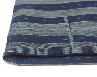 Antique Japanese Boro. Hand Woven Cotton Fabric. Hand Stitched and Patched Folk Textile. Natural Indigo Striped Ikat.  (Ref: 1529)