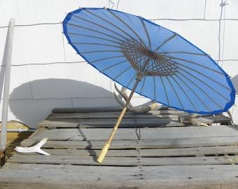 Rustic Vintage • Oriental Blue Jumbo Bamboo & Rice Paper Parasol Umbrella | Japanese Asian Asian Japan Alcoholic Drink | Handmade
