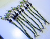 ON HOLD for JULIEE   Green Tigers Eye Frog Charm Black Toggle Bracelet