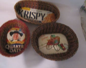 set 3 pine needle baskets vintage baskets most unusual