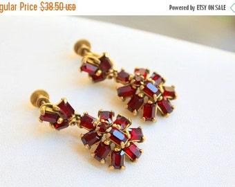 CYBER WEEK SALE Beautiful Vintage Signed Hollycraft  Deep Ruby Red Baguette  Dangle Gold Earrings