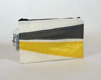 Recycled Sails Nautical Purse Zipper Pouch Clutch Nautical Gift Bridesmaid Bag Sailbag White Bag, Black Bag, Yellow Bag, Gray Bag (Z3)